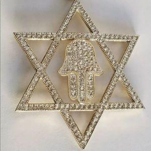 10k Gold Diamond Star  David Hamsa Pendant Charm